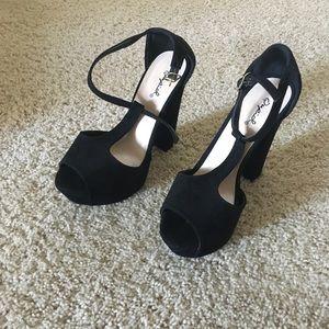Chunky, black, platform, heels